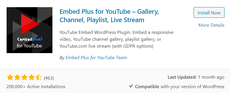 Embed Plus For YouTube Plugin