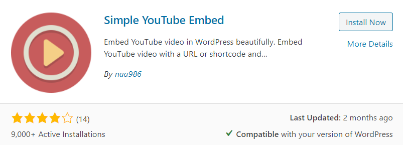 Simple YouTube Embed Plugin