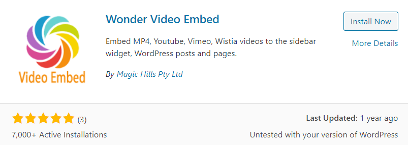 Wonder Video Embed Plugin