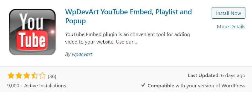 WpDevArt YouTube Embed, Playlist & Popup Plugin